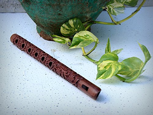 Exquisite Hand Carved Wooden Decorative Flute 33.02 Cm With Mughal Inspired Floral Carvings & 6 Holes