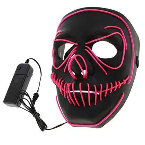 ske Beleuchtung Maske Schädel Maske Skelett Maske Halloween und Cosplay Kostüm Zubehör - Rosa (Skelett-kostüm Für Baby)