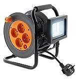 elektrische Kabeltrommel, 4 Steckdosen, 16 A, 2P+T, mit LED-Strahler, 10 W, Kabel HO5VV-F 3G1, 15 m, mit Kabelführung.