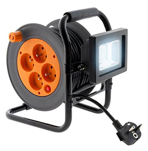 Enrouleur électrique 4 prises 16A 2P+T avec projecteur LED 10W - câble HO5VV-F 3G1 15m avec guide câble