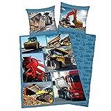 Textiles vertrauen Bettwäsche Herding Fotodruck Baustelle Baufahrzeuge Bagger LKW Mischer 135 x 200 cm All-In-One-Outlet-24 -
