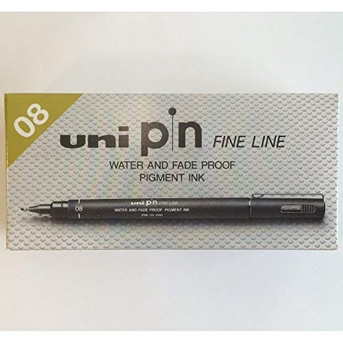 UNI-BALL PIN DRAWING PEN FINELINER ULTRA FINE LINE MARKER 0.8mm BLACK Ink - [Pack of 12]