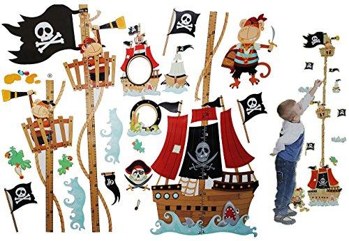 XL - 3-D Meßlatte Pirat - Wandtattoo - selbstklebend mit 4 extra Stickern - Junge / Meßlatten - Wandsticker wachsen - Piraten Meßleiste