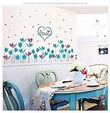 Blaue Blumen sockelleine Wandaufkleber Steuern Dekor Wohnzimmer Schlafzimmer Aufkleber Diy Kunstwandbild Tapete Abnehmbare Wandaufkleber 68x145 cm