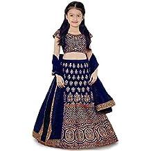 eneric Girl's Satin Semi-stitched Lehenga Choli (FP_blue_choli_003_Blue_Free Size)