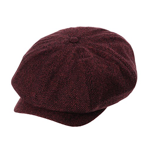 WITHMOONS Schlägermütze Golfermütze Schiebermütze Newsboy Hat Wool Felt Simple Gatsby Ivy Cap SL3525 (Red) (Cap Newsboy Red)