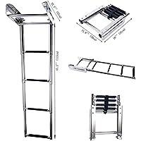 Amarine-made 4-step stainless steel Under Platform Slide Mount Boat Boarding Telescoping Ladder–FBA