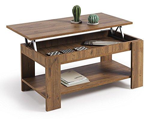 Hogar24- Mesa de centro elevable con revistero, color madera envejecida nogal, medidas 100x50x49/57