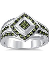 Silvernshine 1.35Ctw Round Cut Green Peridot Sim Diamonds 14K White Gold Plated Engagement Ring