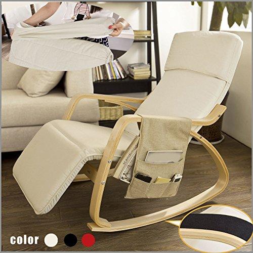 SoBuy Silla de relax, mecedora (reposapiernas ajustable), sillón de relax FST16-W (blanco)
