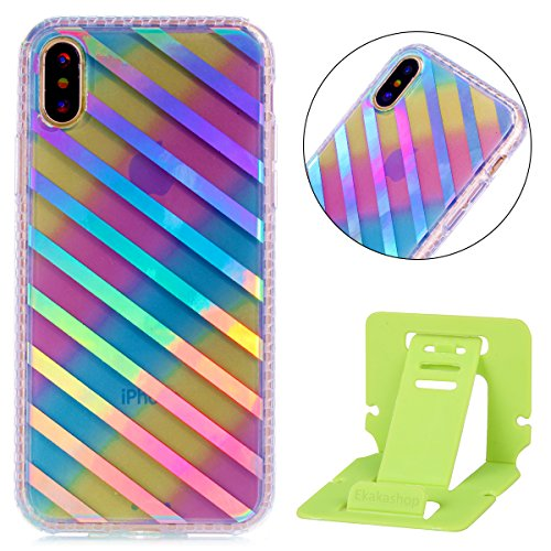 Custodia iphone X 5.8, iphone 10 Cover Glitter, Ekakashop Cover Morbido Sparkly Bling Bling Glitter TPU Silicone Gomma Soft Cover, Belle Bello Trasparente Crystal Clear Protettiva Back Cover Case Cus A-Linee oblique