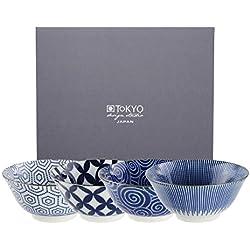 Tokyo Design Studio, Floral Blue, 4 Schalen Set , 4-tlg., Ø 14.8 cm, Porzellan aus Japan