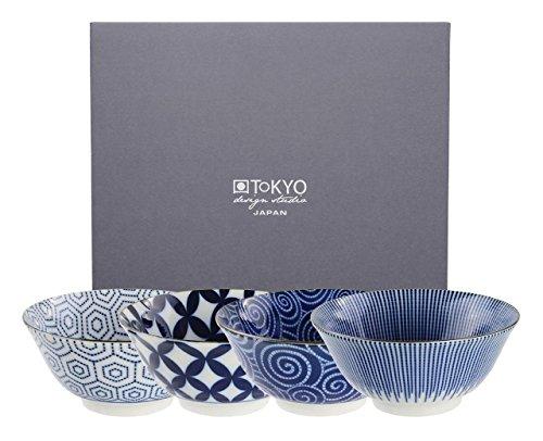 Tokyo Design Studio, Floral Blue, 4 Schalen Set , 4-tlg., Ø 14.8 cm, Porzellan aus Japan Floral Tee-set