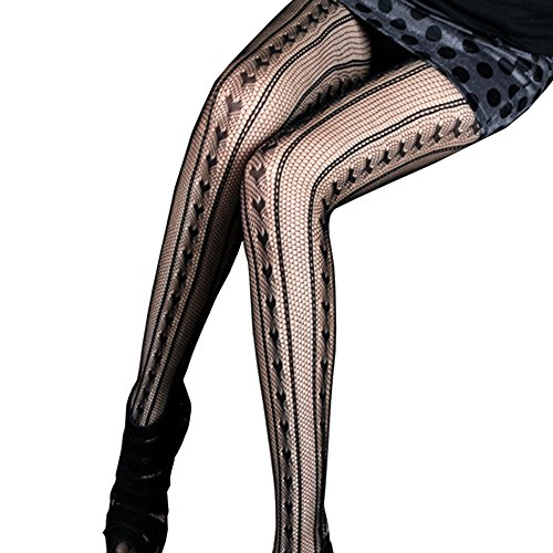 LOCOMO negro diseño de rayas verticales decorativo con forma de corazón calcetín de diseño vintage con pantimedias FFT161