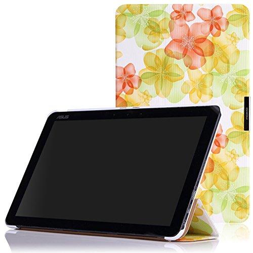 MoKo ASUS Transformer Book T300 Hülle Case - Ultra Slim PU Leder Tasche Schutzhülle Ledertasche Smart Cover mit Standfunktion für ASUS T300 Chi 12.5 Zoll 2015 Version Windows 8.1 Tablet,Blumen-Grün