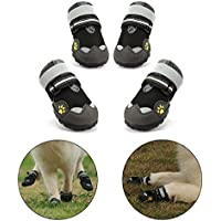 Royalcare Protective Dog Boots, Net yarn Breathable Pet Shoes with Wear-resistant and Rugged Anti-Slip Sole Suitable for Medium to Large Dogs Black (4#)