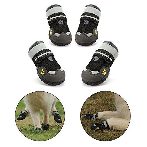 Royalcare Hundeschuhe Schutzstiefel Netzgarn Atmungsaktiv Haustier Schuhe mit verschleißfesten und robusten Anti-Rutsch-Sohle Geeignet für Mittlere bis große Hunde (Schwarz) (7#)