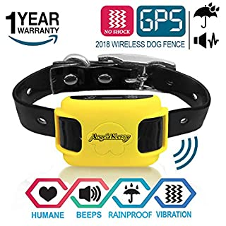 AngelaKerry GPS Dog Training Collar, Rechargeable Waterproof 800 Meters Beep Vibration - 15lbs-120lbs Dogs (Yellow)