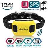 AngelaKerry Recinto Invisibile Addestramento Cani Ricevitori Collare Remote Controllo Area di 800 Metri con Collare GPS (Giallo)