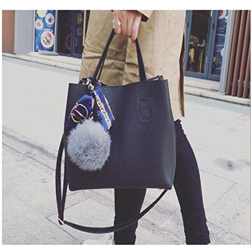 mamum Frauen Schultertasche Mädchen Casual Frauen Einkaufstasche Bag, PU, schwarz, 12cm*27cm*23cm (Für Verkauf Frauen Coach-taschen)