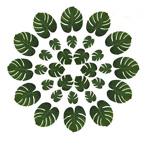 knowing 25 Stücke Künstlich Tropische Blätter,Tropische Blätter,Palmenblätter Dschungel,Für Hawaiian Luau Party Jungle Beach Theme Tischdekoration, grün (3 Größen)