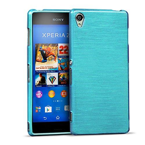 Conie Hülle für Sony Xperia Z3 TPU Gummi Hülle Blau, Metall Optik Brush Design, Schutzcover Bumper, Handyhülle aus Silikon Xperia Z3 Cover Rückschale Blau, für Sony Xperia Z3 (5.2