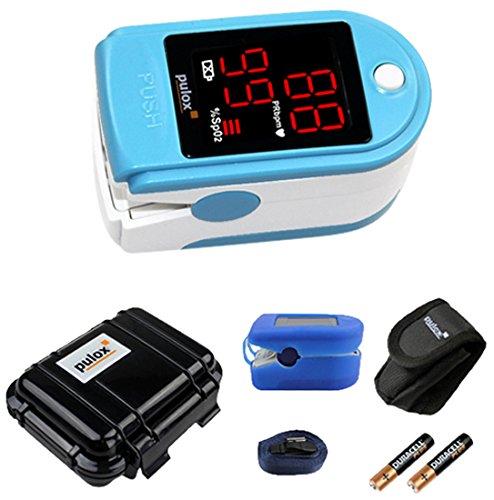 Pulox PO-100 Pulsoximeter mit LED-Anzeige, türkis, inkl. Hardcase, Duracell Bat., Schutzhülle, Nylontasche und Trageband