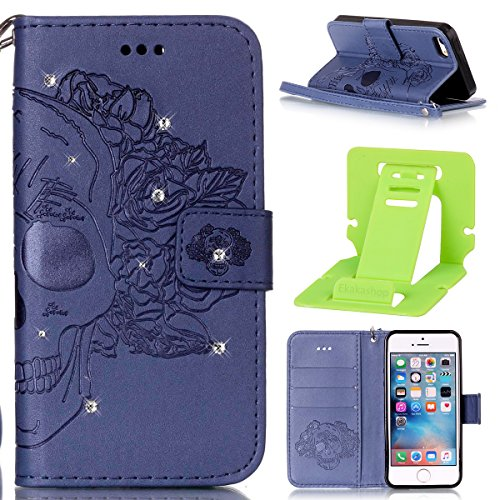 Cover per iphone 6S Portafoglio, iphone 6 4.7 Custodia in Pelle Rigida, Ekakashop Puro Colore Moda Bello Strong Magnetico Ultra Slim Custodia in PU Pelle Flip Folio, Gomma in Silicone Gomma Copertina Diamante#15