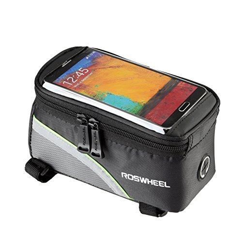 Demiawaking Fahrradtasche Rahmentaschen, Wasserdichte Fahrradrahmentasche & Handyhalterung Schwarz+Grün