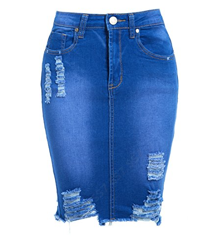 SS7 Womens Stretch Skirt Ladies Pencil Ripped Denim Skirts New Size 6 8 10 12 14 Blue