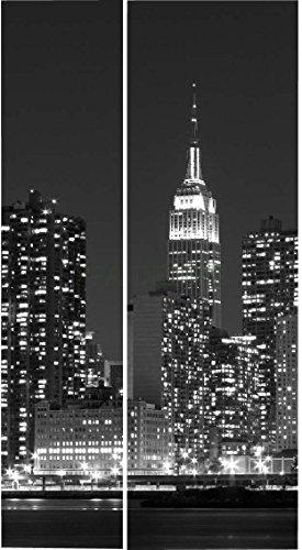 Sticker Frigo Americain Cuisine 100x180cm SAFRA0151 New York Manhattan Noir et Blanc