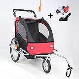 Stylehome® Kinderanhänger 2in1 Fahrradanhänger 360° drehbar Jogger Buggy Kinderwagen für 1-2 Kinder Radanhänger Transportanhänger mit Kupplung und Beleuchtung JG02-RS-001 (Rot-Schwarz)