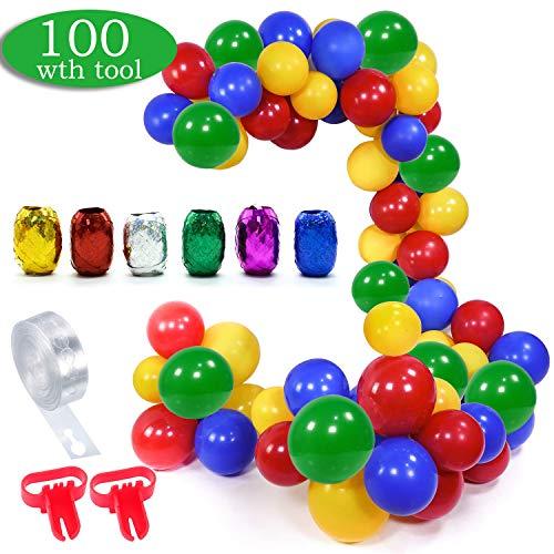 Supereroi palloncino kit ghirlanda 100 palloncini in lattice set con nastro a strisce da 16 piedi, 2 pezzi strumento di legatura per anniversario di compleanno, decorazioni per feste a tema supereroi