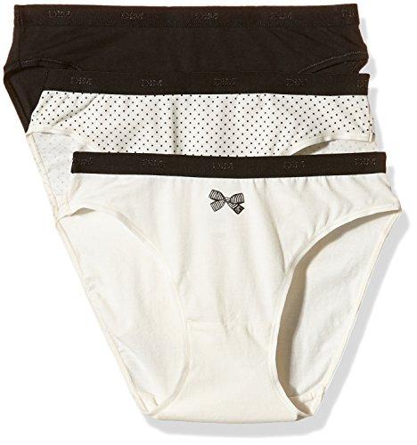 Dim Les Pockets Coton Slip X3-Pantaloni Donna    Noir / Ecru (Lot Noeud Noir) S/M (40/42 FR)
