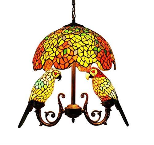 Papagei Tiffany Stil Kronleuchter, Vintage Glasmalerei Libelle Lampenschirme 16 Zoll invertierte Decke Pendelleuchte, Wohnzimmer Schlafzimmer E26 Deckenleuchten,E -