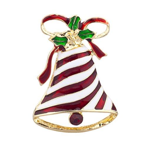 Lux accessori Natale vacanze di Natale Bell nastro tono oro e smalto spilla