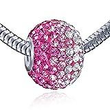 MATERIA Kristall Ketten Anhänger Kugel pink 12x16mm - 925 Silber Beads Anhänger mit Strass pink weiß #1087