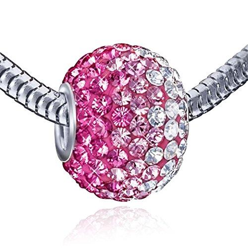 MATERIA Kristall Ketten Anhänger Kugel pink 12x16mm - 925 Silber Beads Anhänger mit Strass pink weiß #1087 - Kugel Hülse Mit Silber