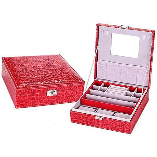 Littlefairy in pelle doppia banda blocco gioielli scatola anello gioielli orologio deposito box 26 * 26 * 8.5 cm