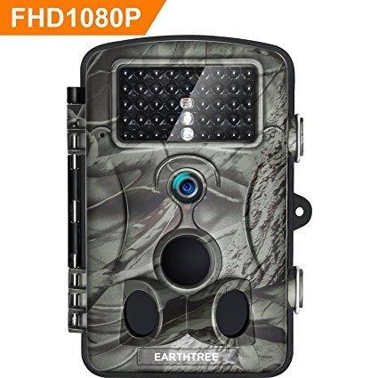 """Earthtree Wildkamera Fotofalle Full HD 1080P 12M Jagdkamera mit 120¡ã Weitwinkel Objektiv Fotofalle, 42 Low Glow Infrarot Leds, 20m Nachtsicht, 2.4"""" LCD Display, Wasserdichte"""