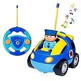 SGILE RC Auto Ferngesteuertes Spielzeugauto für Kleinkinder und Kinder, RC Polizeiauto mit Licht und Musik, Auto Spielzeug Cartoon Fahrzeug Geschenk Blau