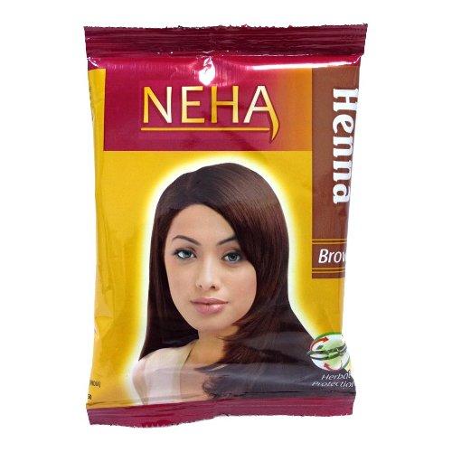 Herbal Henna Haar (Neha Pflanzliche Natürliche Haarfarbe mit Henna & Kräutern - DUNKEL BRAUN (BOX: 10x15g=150g) | Silk Glanz-Creme Gloss Mehandi)