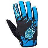 Panegy Damen Herren Stoßdämpfend Fahrradhandschuhe Smartphone Bedienbar, Vollfinger Rutschfeste Radsport Handschuhe Größe M - Blau