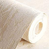AdorabPaper Contact Paper Wallpaper Non-Woven Fabric Imitation Diatom Mud Simple Three-Dimensional Embossed Living Room Bedroom Background Wall Yellow 53X1000CM