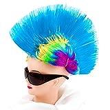 Irokese Perücke Karneval Iro Wig Afro Punker Party Biker Fasching Kostüm (Türkis)