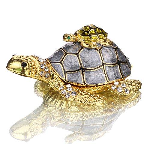 H&D Mutter und Baby Schildkröte Schmuckkästchen mit funkelnden Kristallen handbemalte Figur Sammlerstück Ring Halter