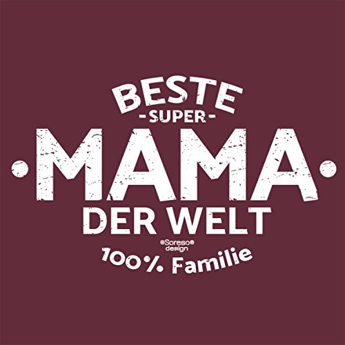 Damen Geschenk zum Muttertag oder Geburtstag Girlie Fun T-Shirt in Größen bis XXL und Print Aufdruck Beste Mama der Welt Farbe: burgund Burgund