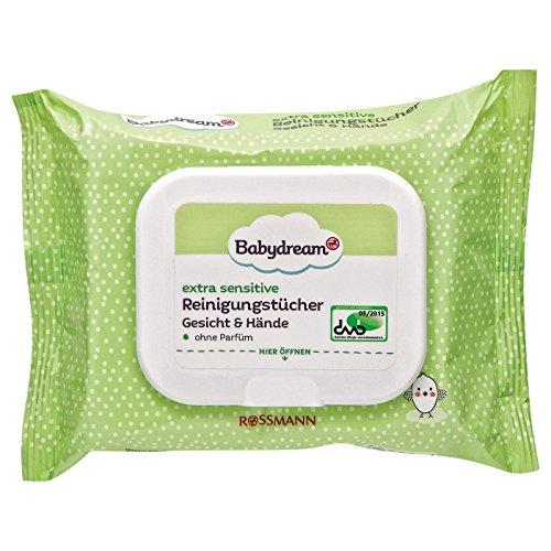Babydream extra sensitive Reinigungstücher Gesicht & Hände 1 Packung mit 25 Stück ohne Parfüm, reinigt & pflegt empfindliche & zu Allergien neigende Haut - ÖKO-TEST SEHR GUT