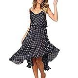KIMODO Kleid Damen Plaid Rückenfrei Kleider V-Ausschnitt Frauen Minikleid Ärmellos Partykleid Beiläufig Abendkleid Sommer Strandkleid