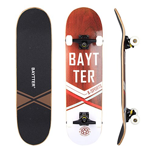 BAYTTER® Skateboard Komplett Board Funboard 79x20cm mit 7-lagigem Ahornholz und ABEC-11 Kugellager 95A Rollenhärte, für Kinder, Jugendliche und Erwachsene, 3 Farben wählbar (holzfarbig) (Classic-serie-jacke)